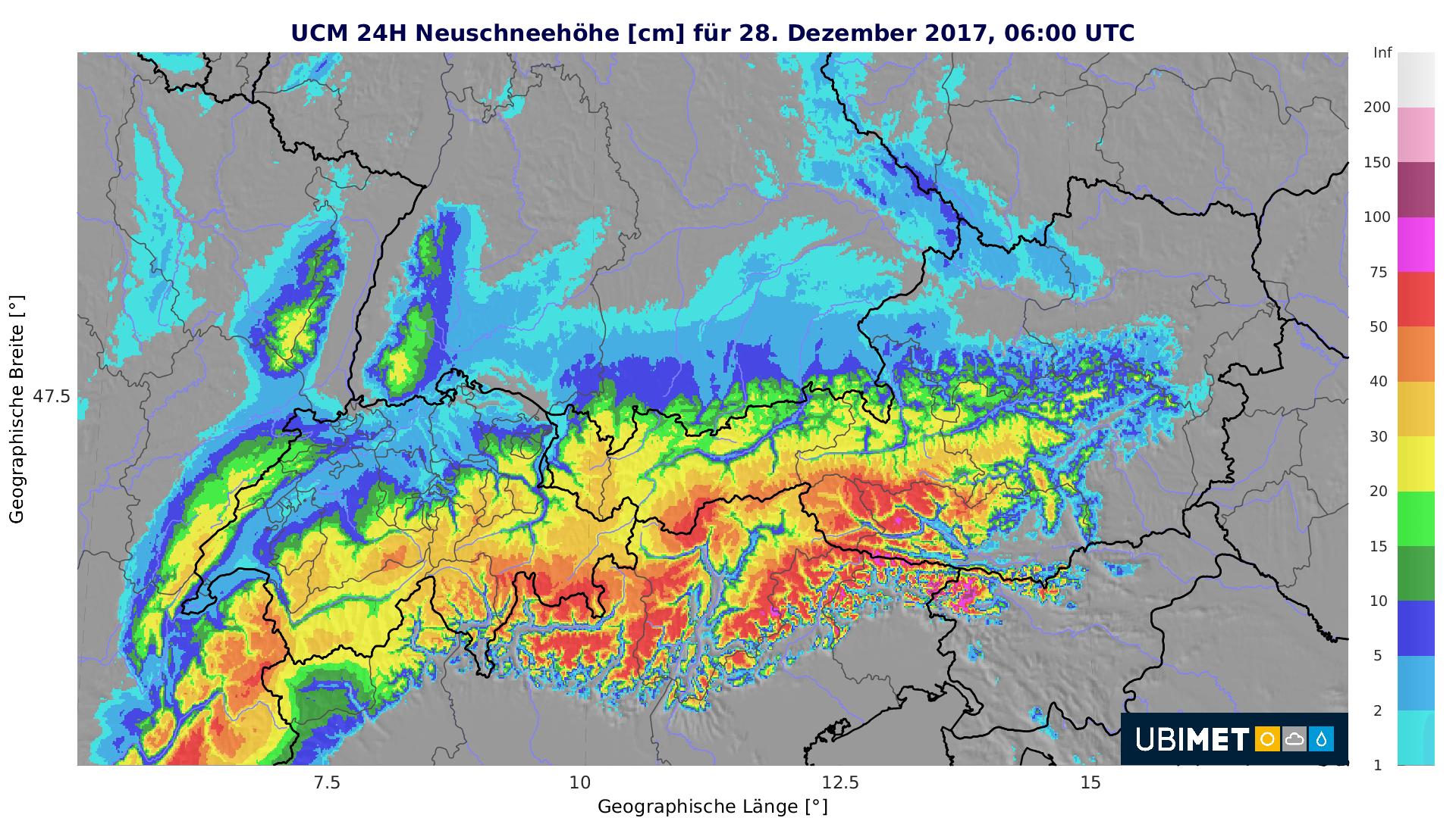 24-stündige Neuschneemengen bis Donnerstagfrüh © UBIMET