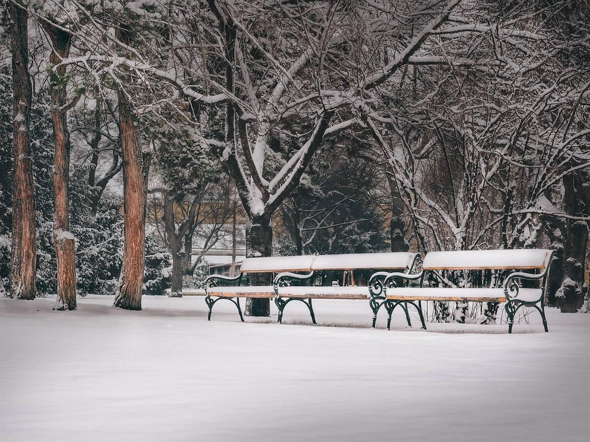 Parkbänke im Schnee ©pixabay.com - https://pixabay.com/en/vienna-park-park-bench-benches-2059693/