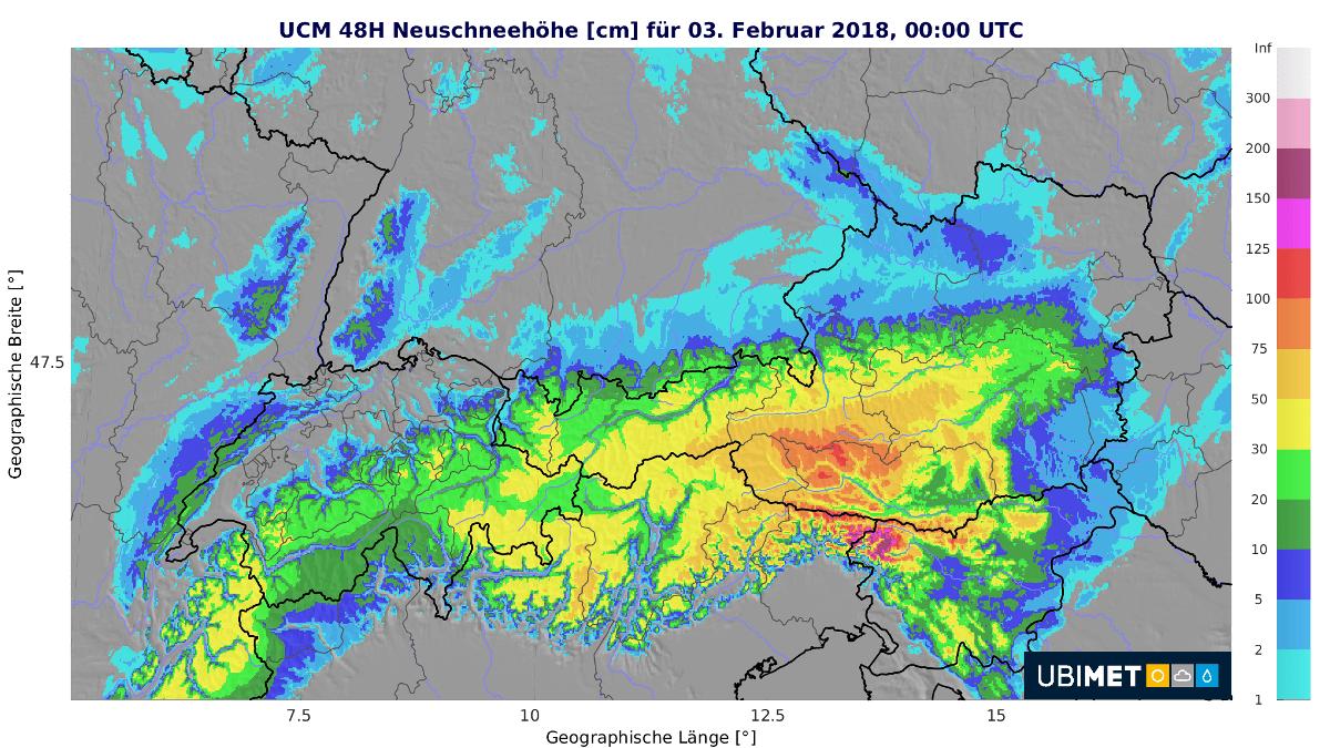 Neuschneemenge bis Samstag 00 UTC. @UBIMET