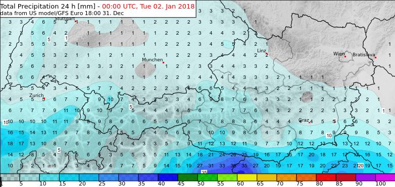 24h-Niederschlagsprognose von GFS. © NCEP