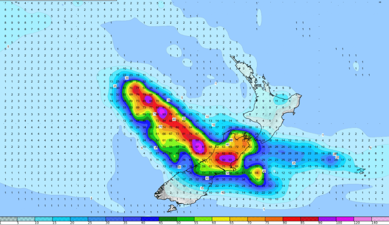 Prognostizierte Regenmengen des Tropischen Wirbelsturms GITA © GFS/NCEP