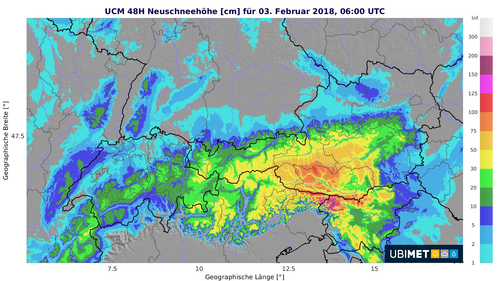 Schneeprognose bis Samstagmorgen. © UBIMET