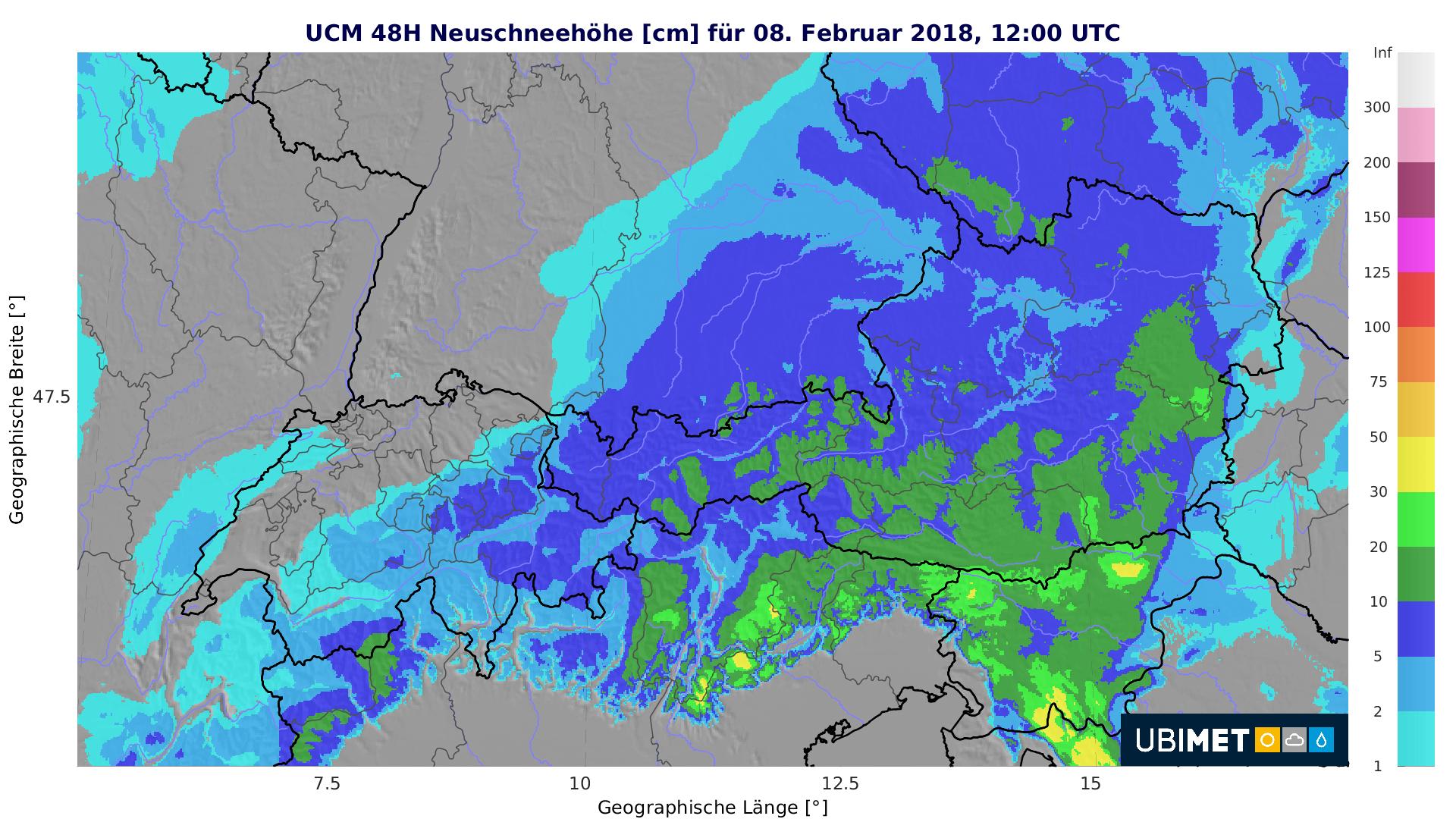 Schneemenge bis Donnerstagmittag. Quelle: UBIMET