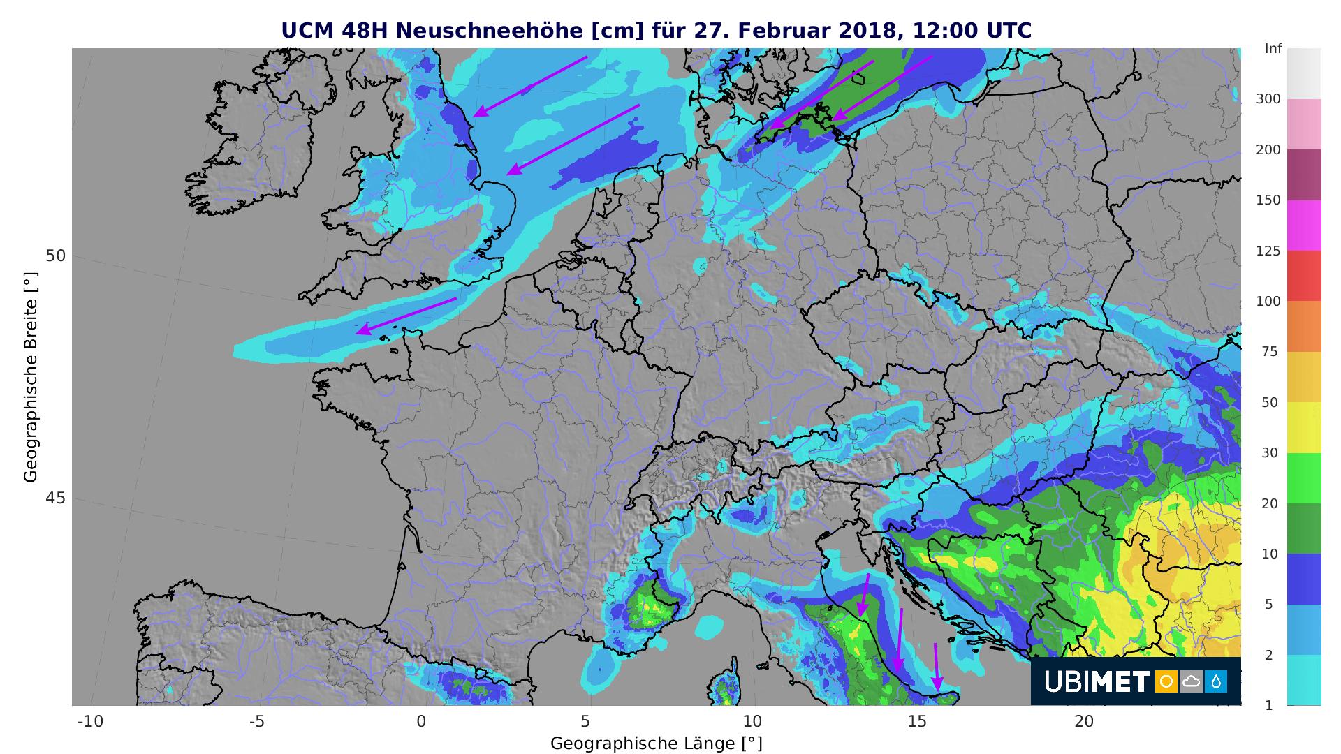 Prognose der 48-stündigen Neuschneehöhe bis Dienstagnachmittag. © UBIMET