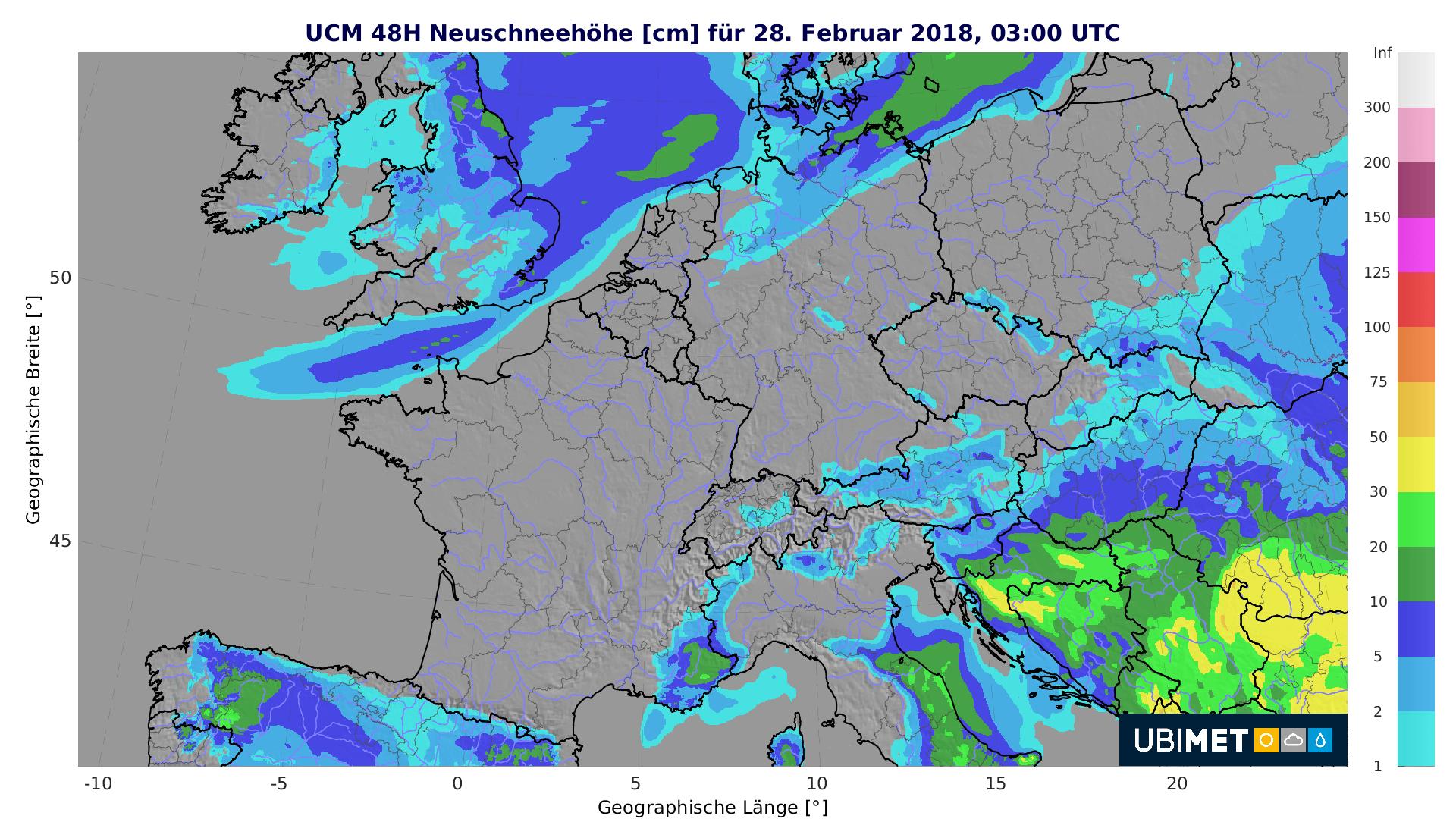 Prognose der 48-stündigen Neuschneehöhe bis Mittwochfrüh. © UBIMET