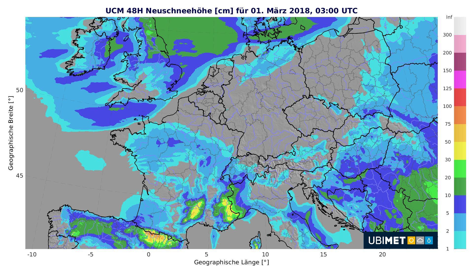 Prognose der 48-stündigen Neuschneehöhe bis Donnerstagfrüh. © UBIMET