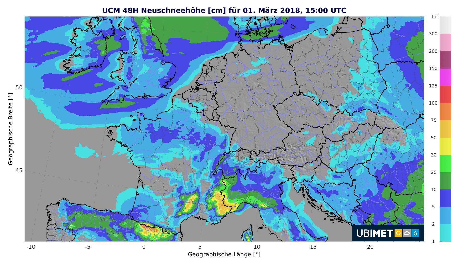 Prognose der 48-stündigen Neuschneehöhe bis Donnerstagnachmitttag. © UBIMET
