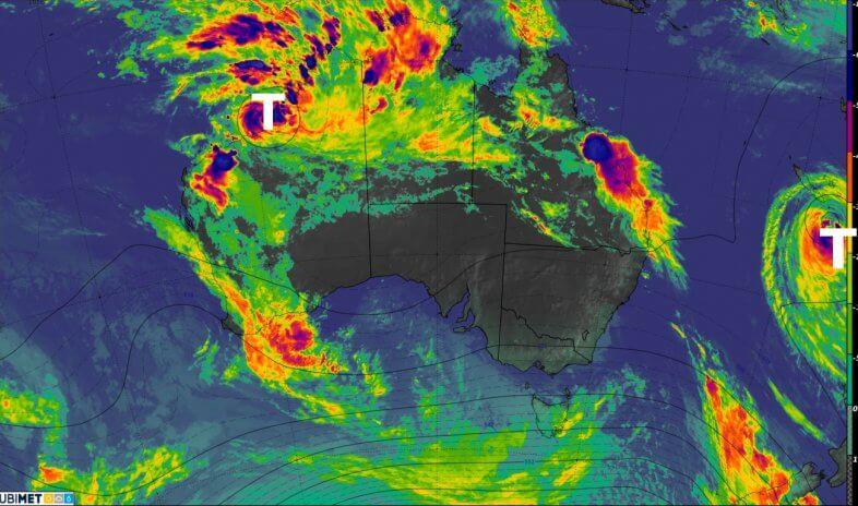 Satellitenbild von Freitagnacht (Ortszeit) von Australien. © HIMAWARI / JWA