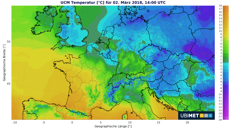 Temperaturen am Freitag 2.3.2018