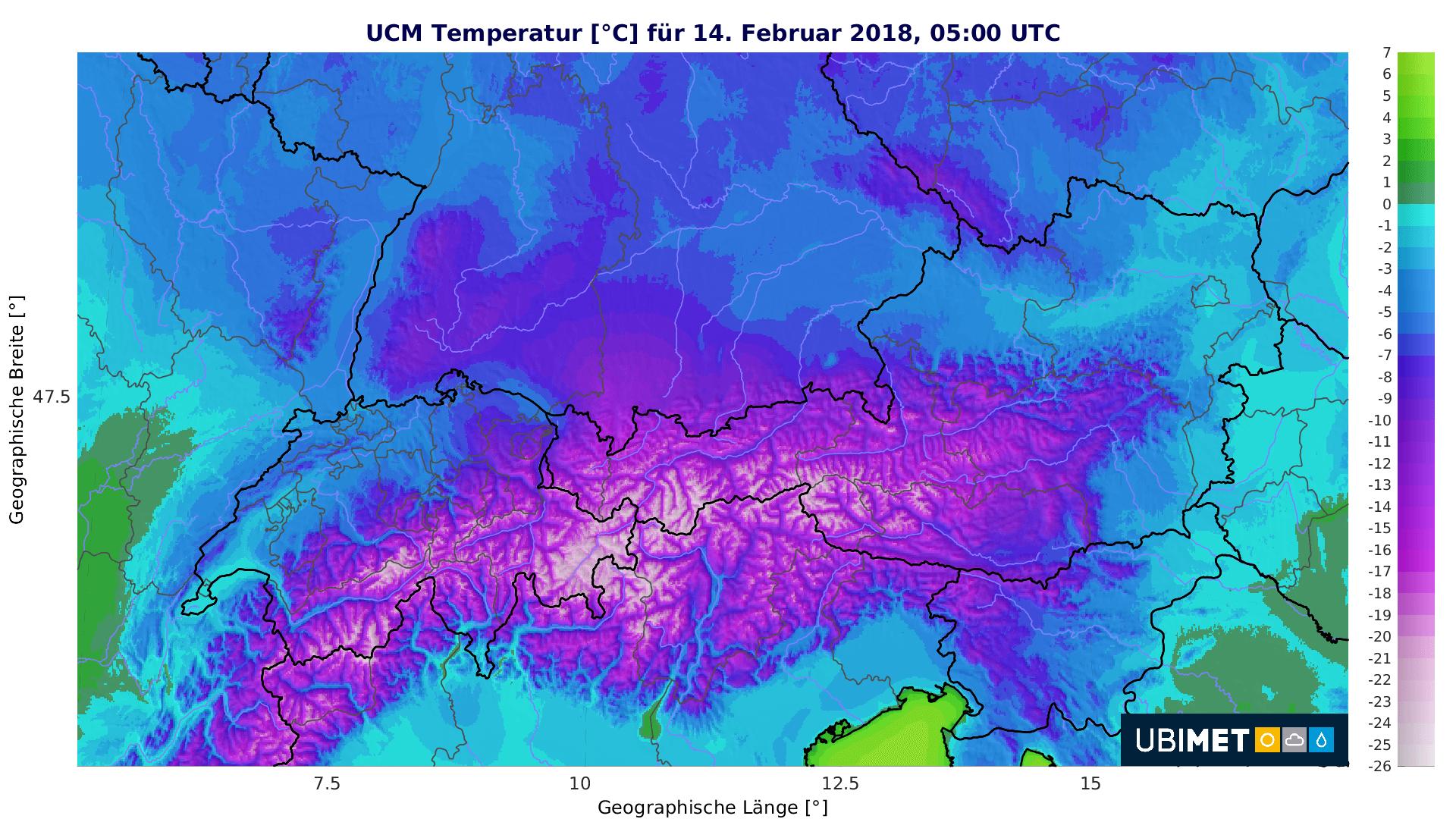 Eisige Temperaturen am Mittwochmorgen. © UBIMET