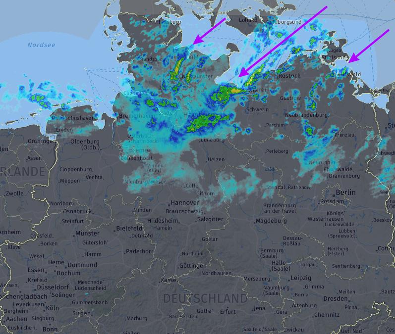 Radarbild am Sonntag um 14 Uhr mit Lake Effect im Bereich der Ostsee. © DWD / UBIMET