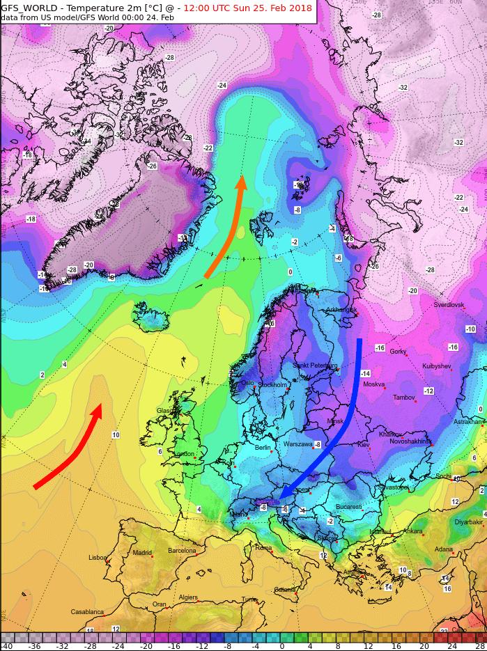 Temperaturprognose für Sonntag. © GFS / UBIMET