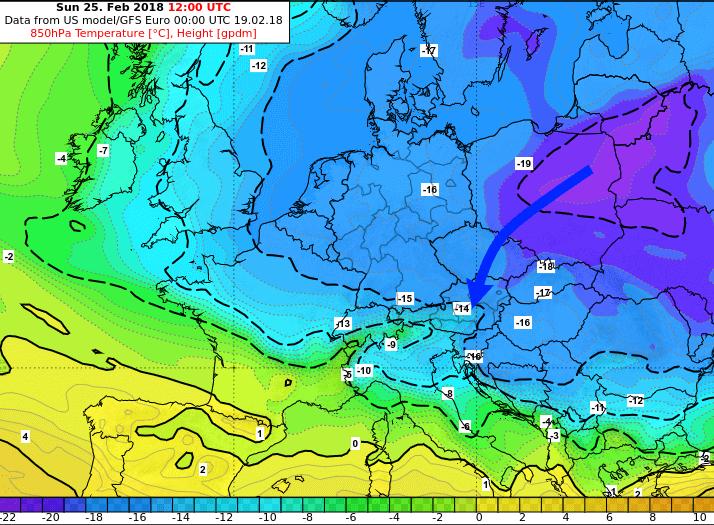 Temperaturprognose für kommenden Sonntag in etwa 1500 m Höhe. © GFS / UBIMET