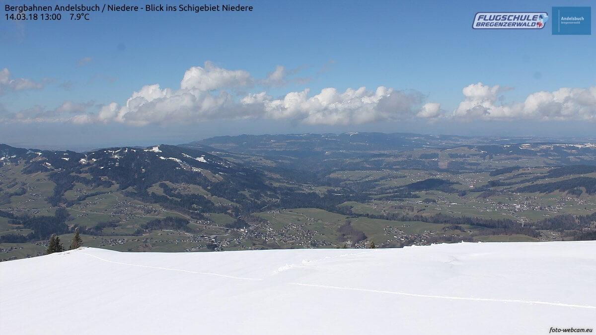 Winter und Frühling im Bregenzerwald. © https://www.foto-webcam.eu/webcam/andelsbuch/