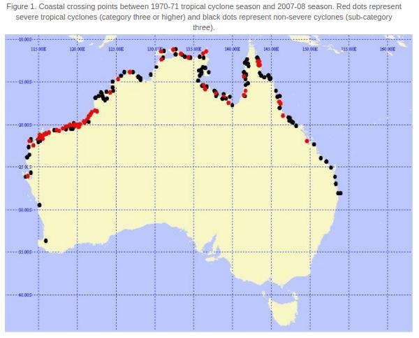 Landfall tropischer Stürme in Australien von 1970 bis 2008. © Bureau of Meteorology (BOM)