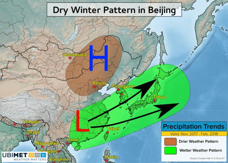 Die meiste Zeit des Winters herrschte Hochdruckeinfluss über Peking. © UBIMET