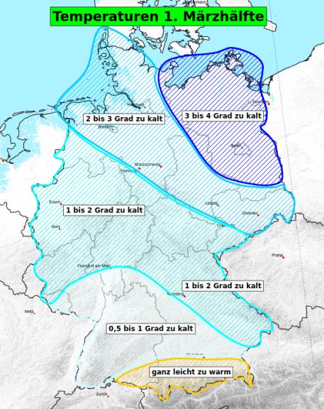 Niederschlagsbilanz der ersten Märzhälfte © UBIMET