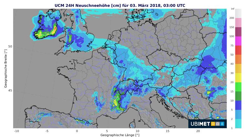 24-stündige Neuschneemengen bis Samstagfrüh um 04:00 MEZ. © UCM / UBIMET
