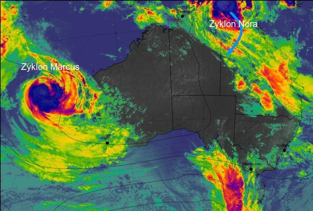 Satellitenbild von Australien zeigt Zyklone © Himawari, UBIMET