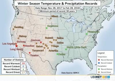 Übersicht des Winters 2017/18 in den USA. © UBIMET