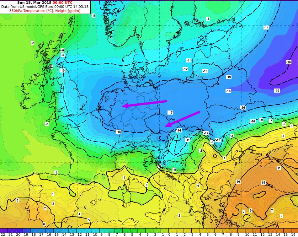 Eisige Luft aus Russland trifft ein. © GFS / UBIMET