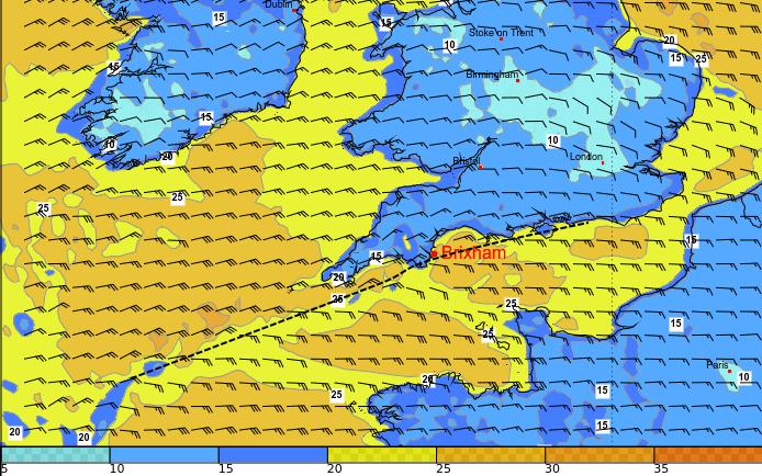 Windkonvergenz (schwarz gestrichelt) im Bereich der Südküste Englands am Mittwochvormittag.© UBIMET RACE