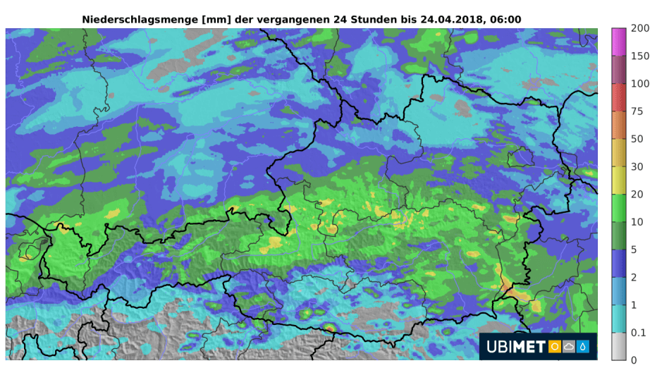 24-Niederschlag bis Dienstagfrüh. © UBIMET