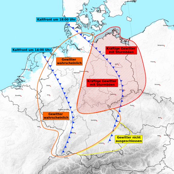 Das sind die gefährdeten Regionen am Mittwoch © UBIMET