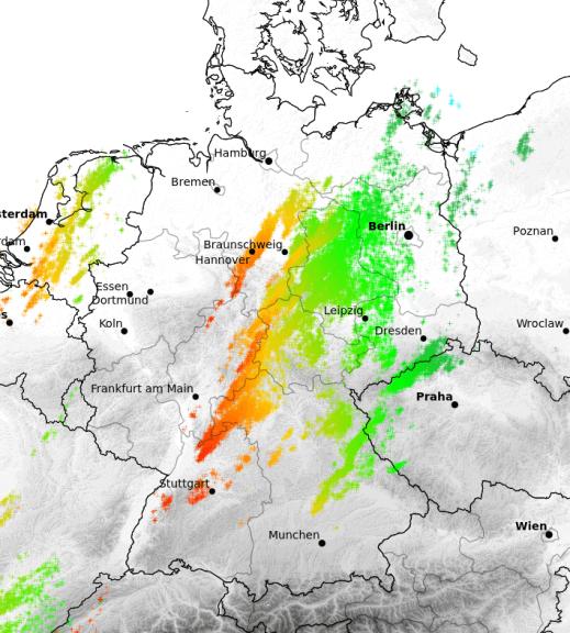 Die Blitzverteilung am Mittwoch in Deutschland © UBIMET/Nowcast