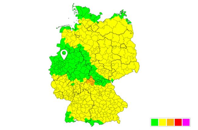 Die Warnkarte des Deutschen Unwetterradars für den heutigen Freitag © UBIMET, uwr.de