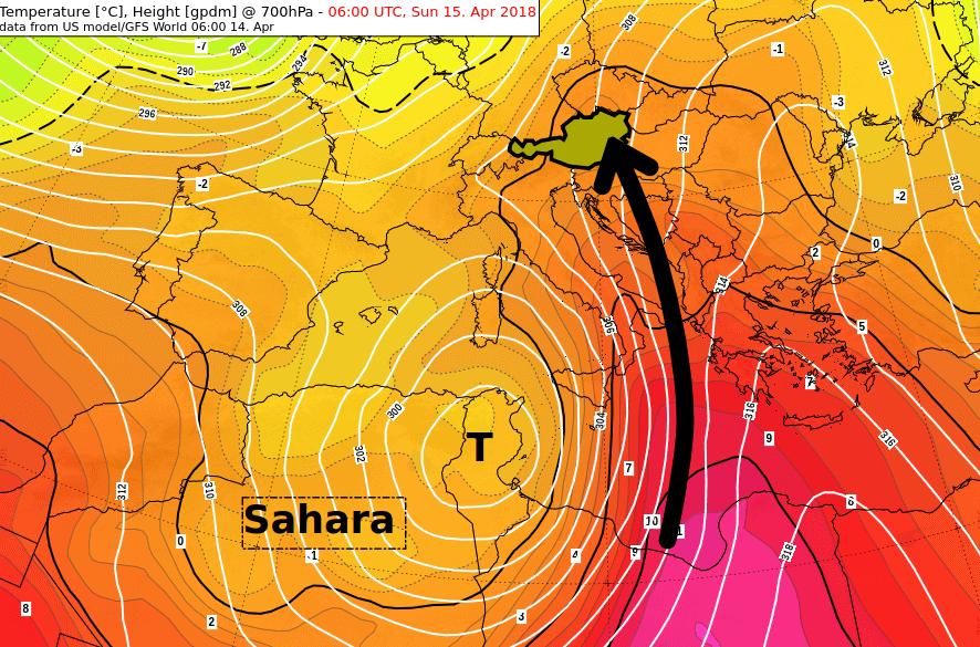 Temperatur und Druckverteilung in etwa 3 km Höhe am Sonntagmorgen © NOAA, UBIMET