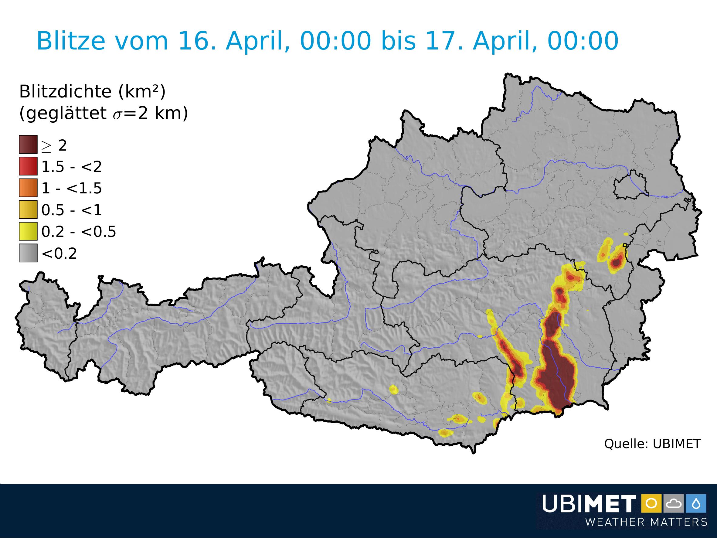 Blitze am Montag. © UBIMET