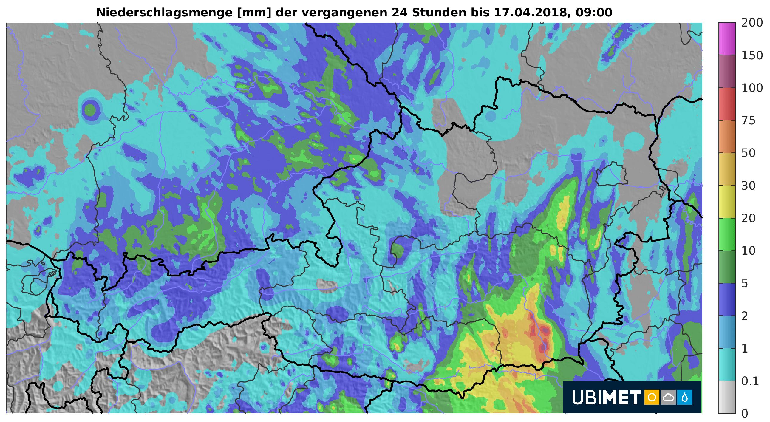 24h-Niederschlagsmenge. © UBIMET