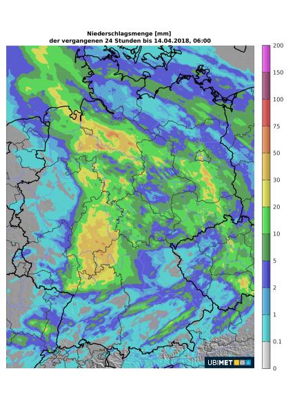Analyse der 24h-Niederschlagsmenge bis Samstag, 08:00 Uhr © UBIMET