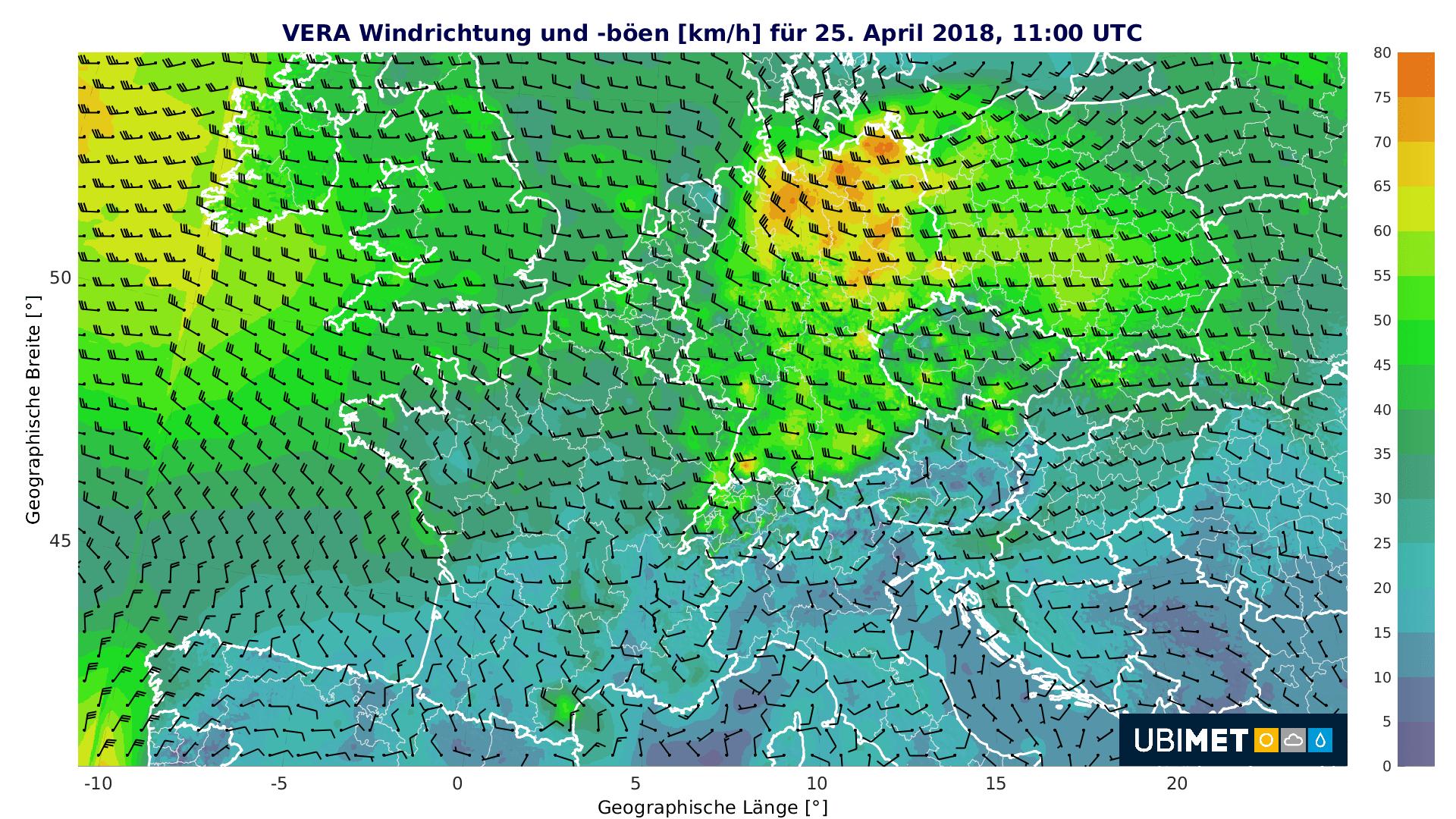Windböen am Mittwochmittag. © UBIMET
