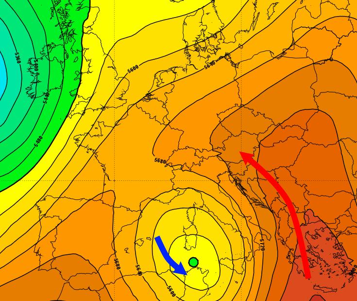 Prognose der Druckverteilung in etwa 5500 m Höhe für kommenden Sonntag. © GFS / UBIMET