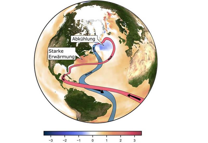 Golfstrom und beobachtete Änderung der Temperatur. © Caesar; Potsdam-Institut für Klimafolgenforschung
