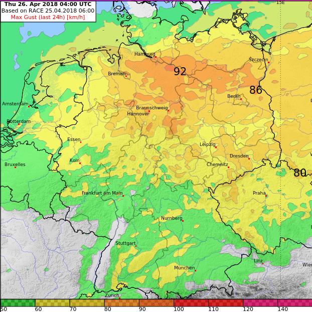 Modellprognose der Windböen bis Donnerstagmorgen. © UBIMET