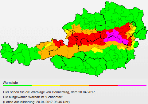 Schneewarnungen vom 19. bis 20. April 2017. © www.uwz.at / UBIMET