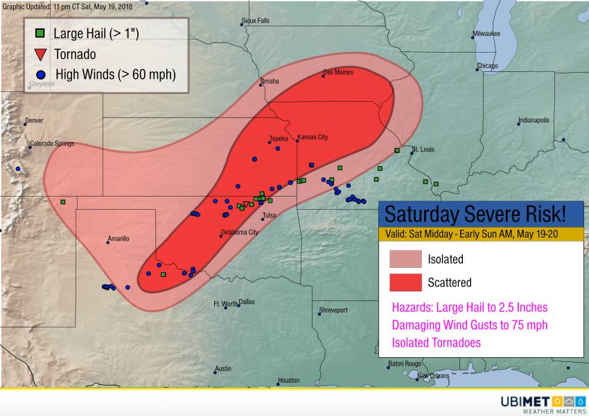 Prognose und Verifikation der Gewitter am Samstag. © UBIMET/SPC