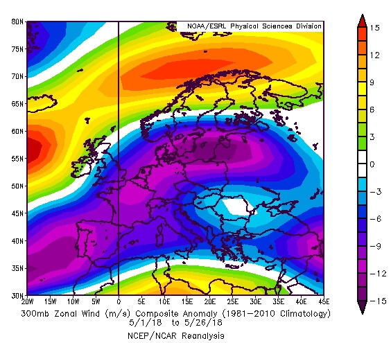 Anomalie breitengradparallelen Höhenwinds im Mai (Stand 26.5.18). © NOAA