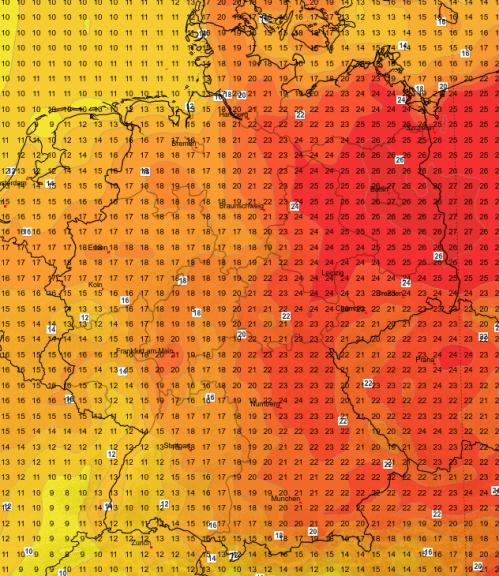 Die Temperaturverteilung heute Nachmittag © UBIMET/GFS