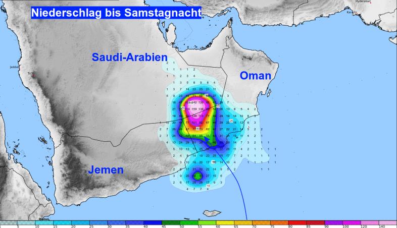 Regenprognose für die Arabische Halbinsel am Samstag © UBIMET / GFS