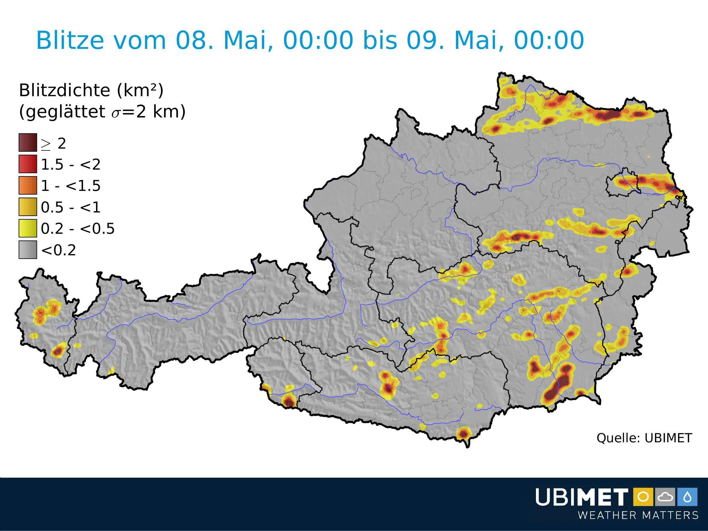 Blitze am Dienstag. © UBIMET
