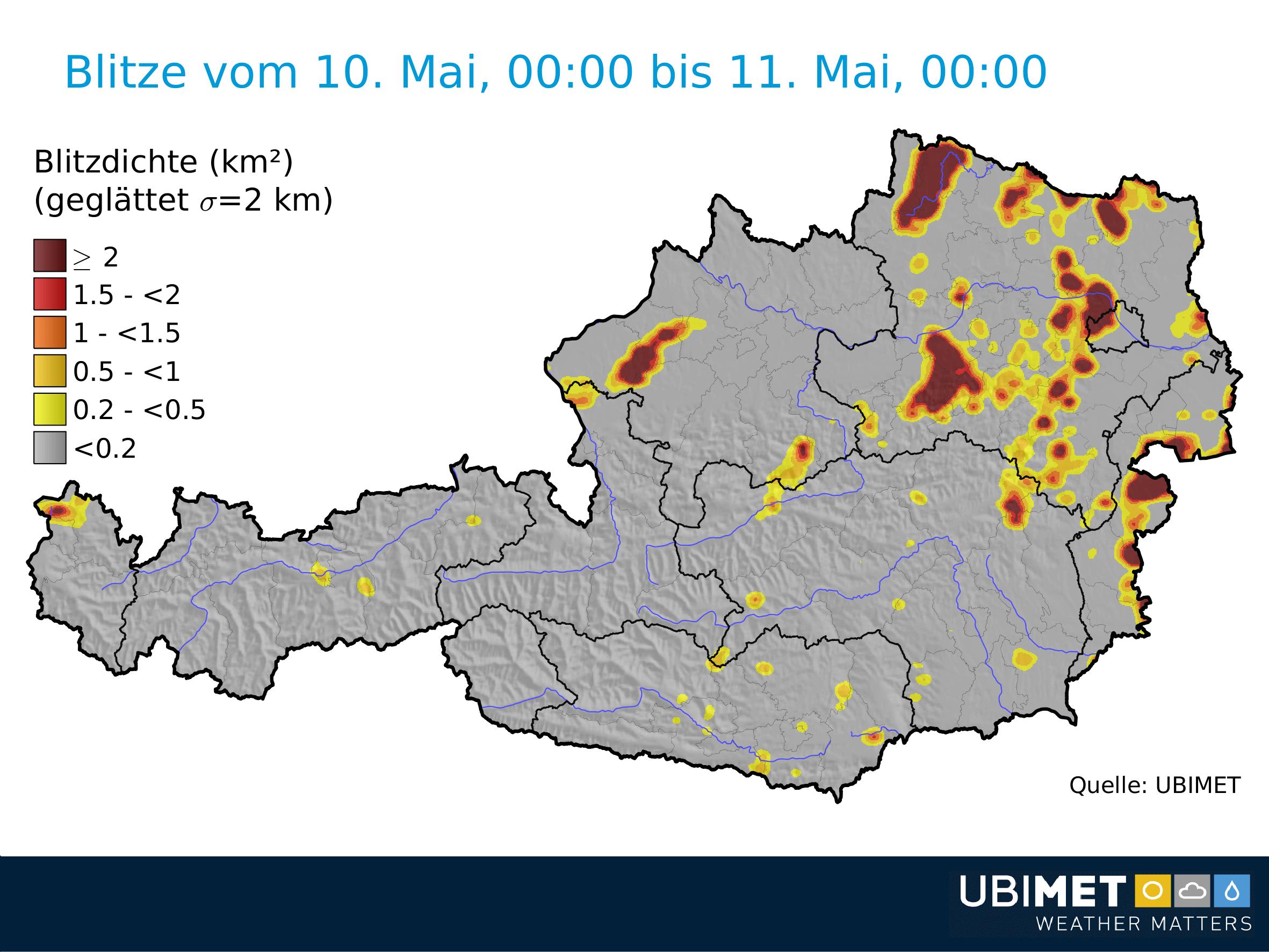Blitzdichte am Donnerstag. © UBIMET
