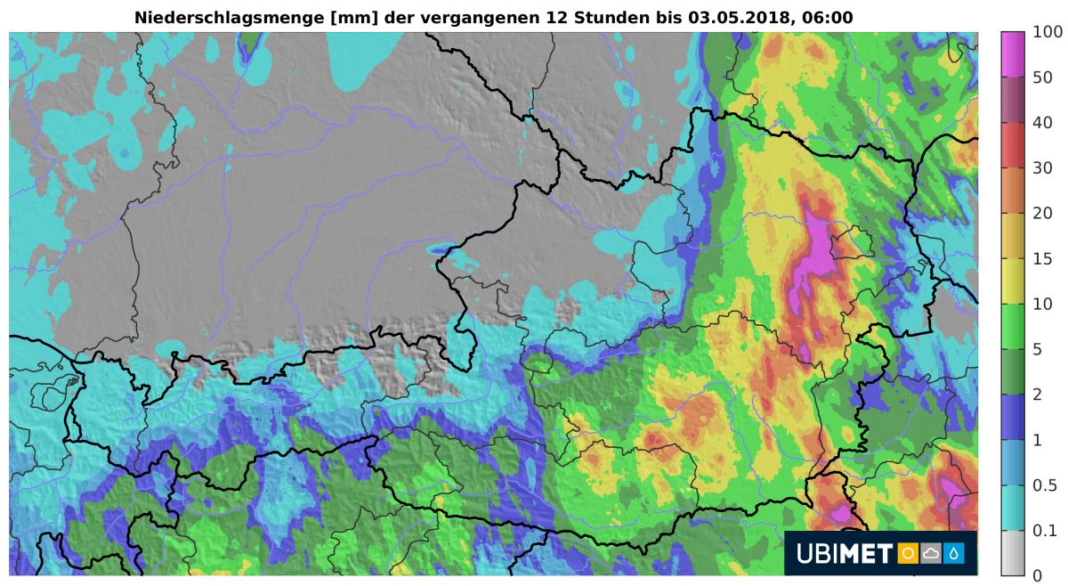 12-Niederschlag bis Freitagmorgen. © UBIMET