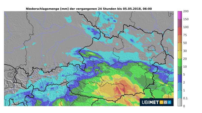 24h-Niederschlag bis Samstagmorgen. © UBIMET.