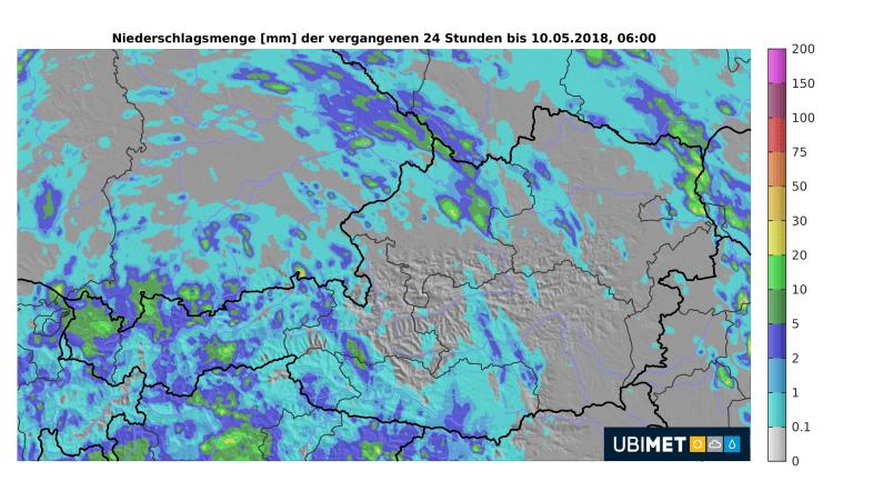 24-stündige Regensummen bis heute früh 06:00 Uhr © UBIMET