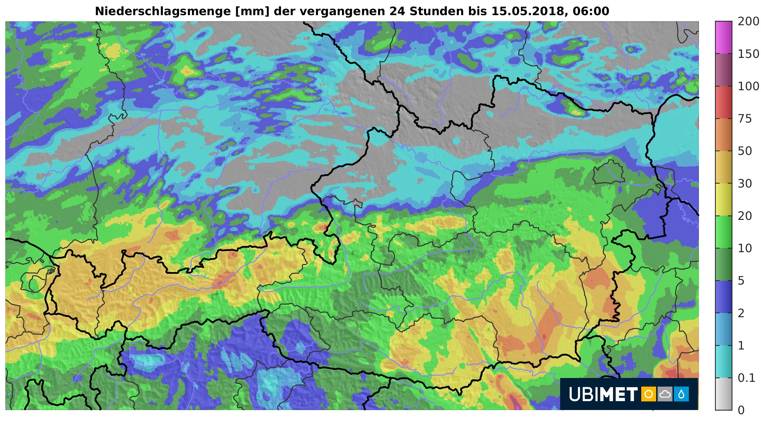24-h-Niederschlag bis Dienstagfrüh. © UBIMET