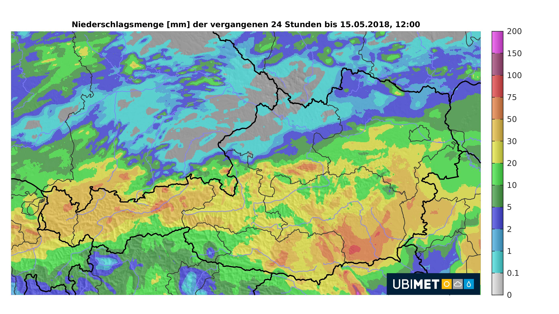 24-h-Niederschlag bis Dienstagmittag. © UBIMET